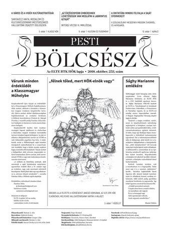 bc329a5d7d86 Pesti Bölcsész Újság • 253. szám by Pesti Bölcsész Újság - issuu