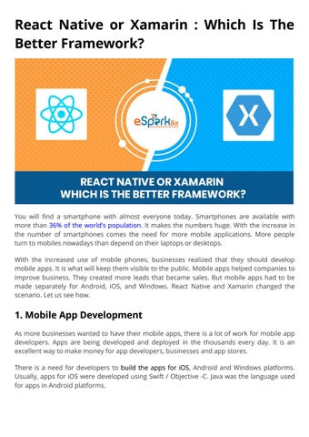 A Detailed Study of React Native And Xamarin by eSparkBiz
