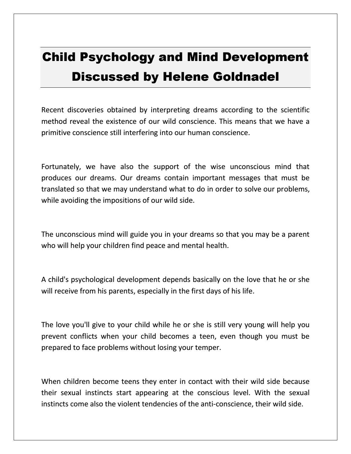 Child Psychology and Mind Development Discussed by Helene ...