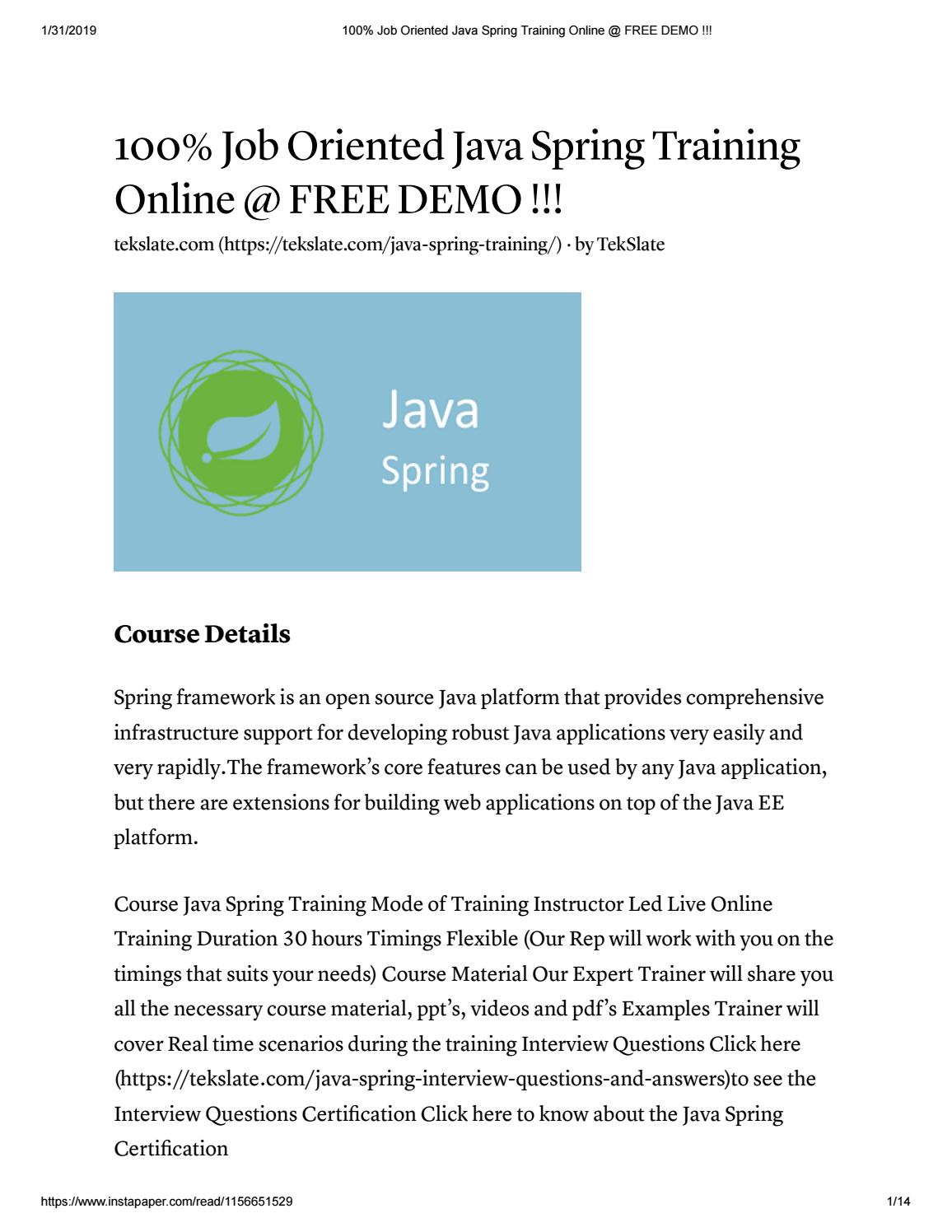 Java Spring Training in India & USA - FREE DEMO by