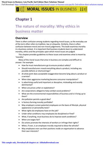 Moral Issues in Business Asia Pacific 2nd Edition Shaw
