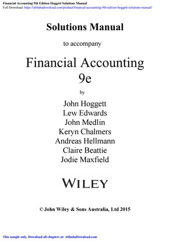 Financial Accounting 9th Edition Hoggett Solutions Manual By
