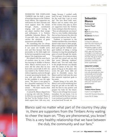 Page 45 of Timbers Midfielder Sebastian Blanco talks his diet