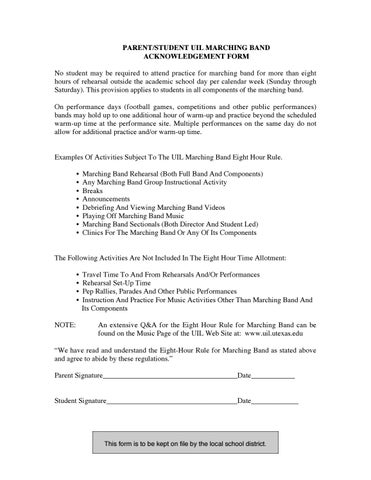 UIL Acknowledgement Form by westmesquiteband - issuu