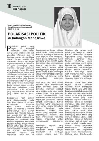 Page 10 of OPINI: Polarisasi Politik di Kalangan Mahasiswa