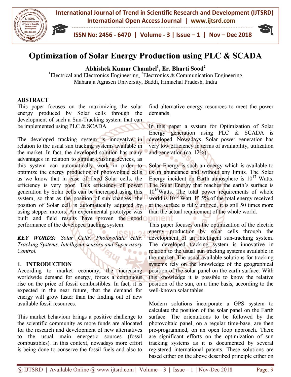 Optimization of Solar Energy Production using PLC and SCADA by