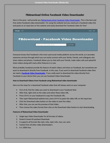 fbdownload Online facebook video downloader by Steven Taylor