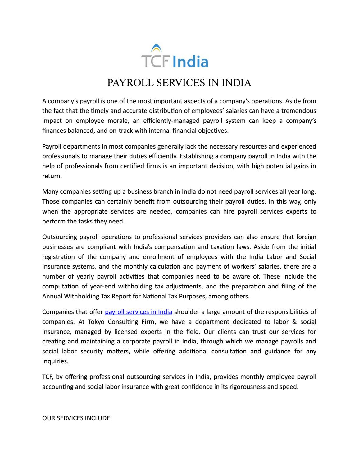 PAYROLL SERVICES IN INDIA by Tokyo Consulting Firm - issuu