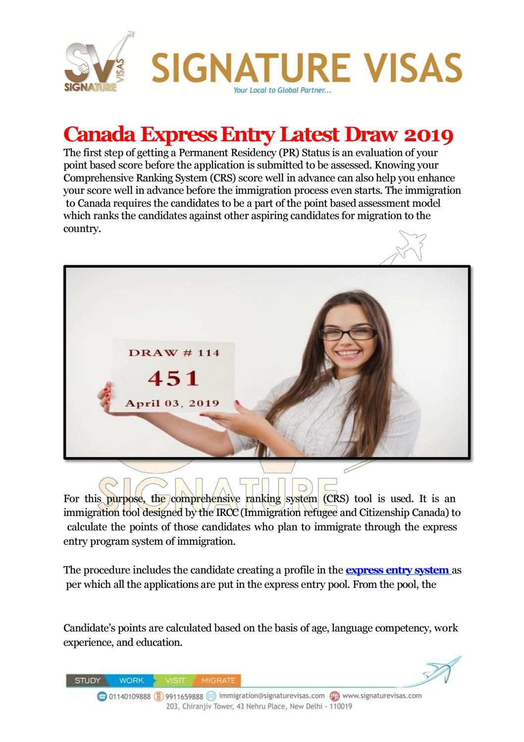 Express Entry Draw - Latest Figures 2019 by