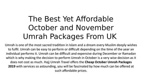 The Best Yet Affordable October and November Umrah Packages