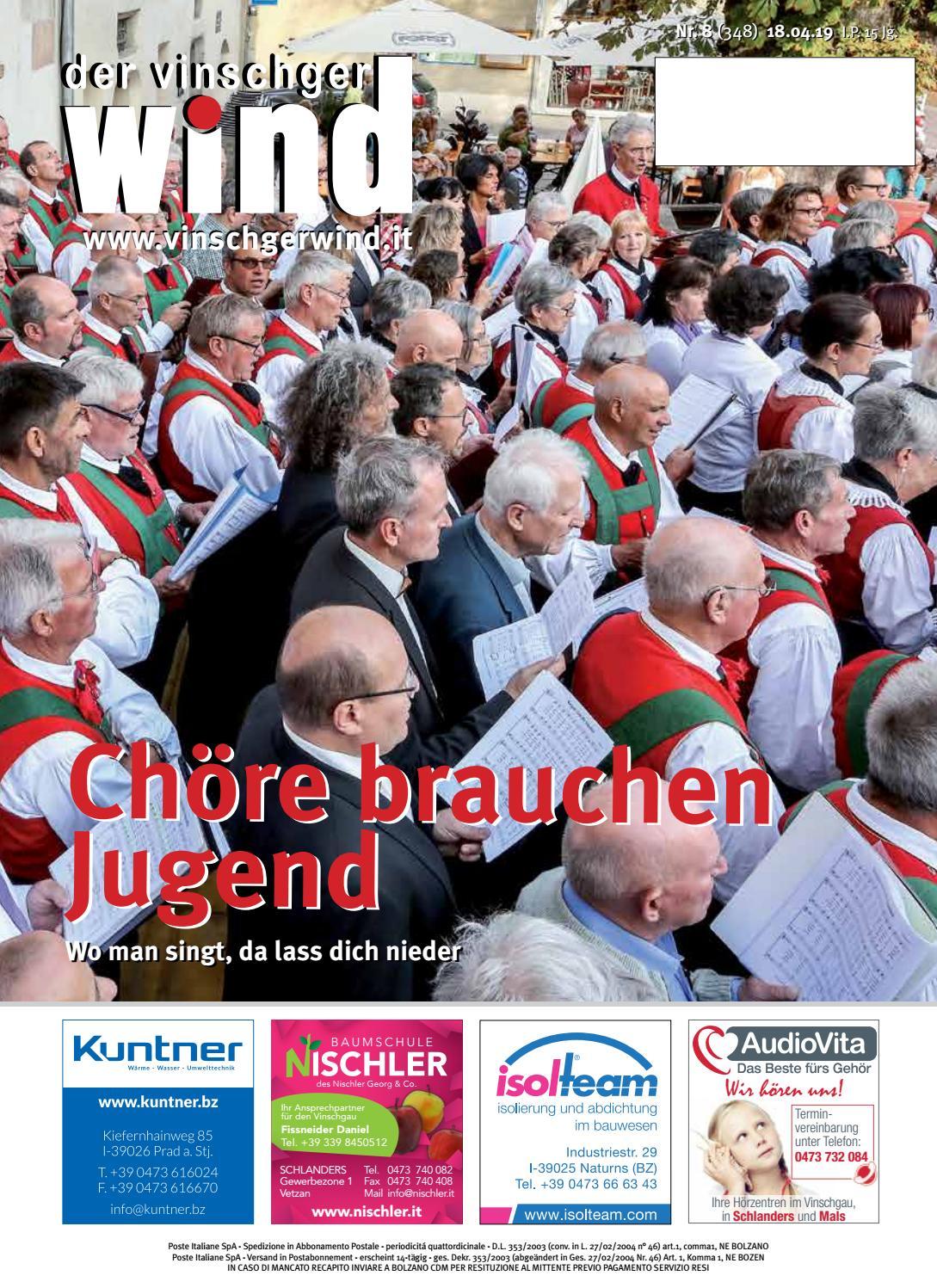 Zeitung Vinschgerwind 8 19 Vom 18 04 2019 Bezirk Vinschgau Sudtirol