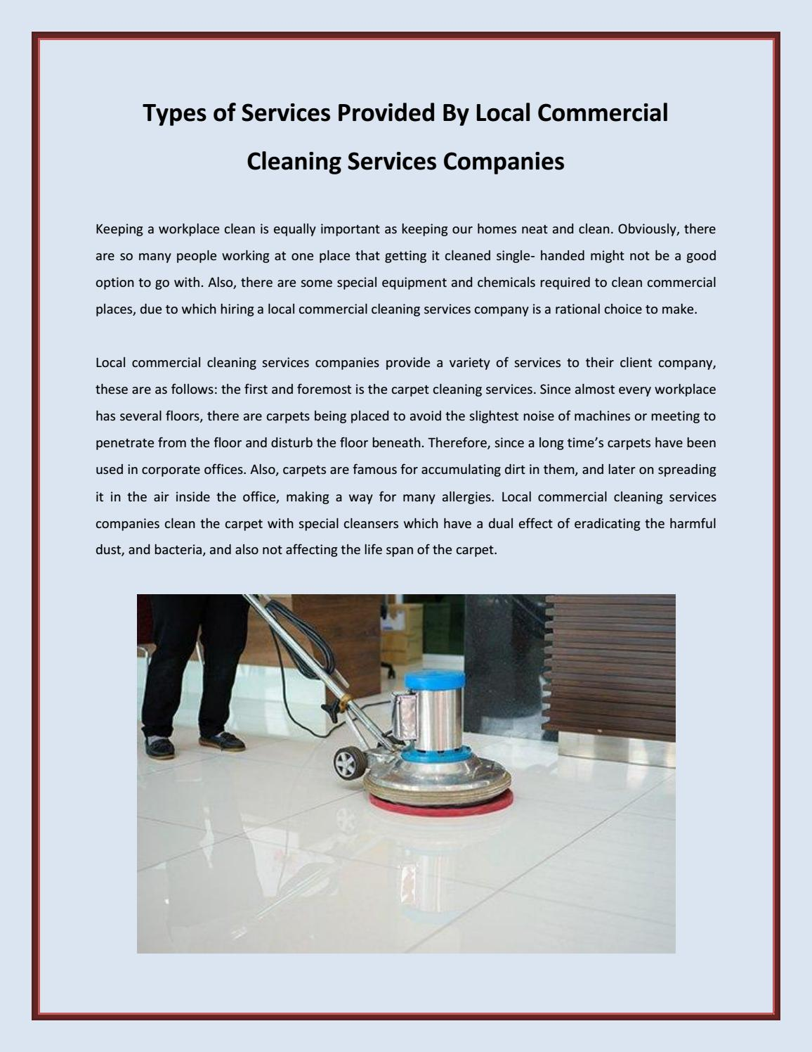 Types of Services Provided By Local Commercial Cleaning