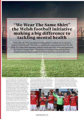 """Page 18 of """"We Wear The Same Shirt"""" the Welsh football initiative making a big difference to tackling mental health."""