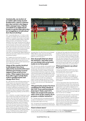 """Page 19 of """"We Wear The Same Shirt"""" the Welsh football initiative making a big difference to tackling mental health."""