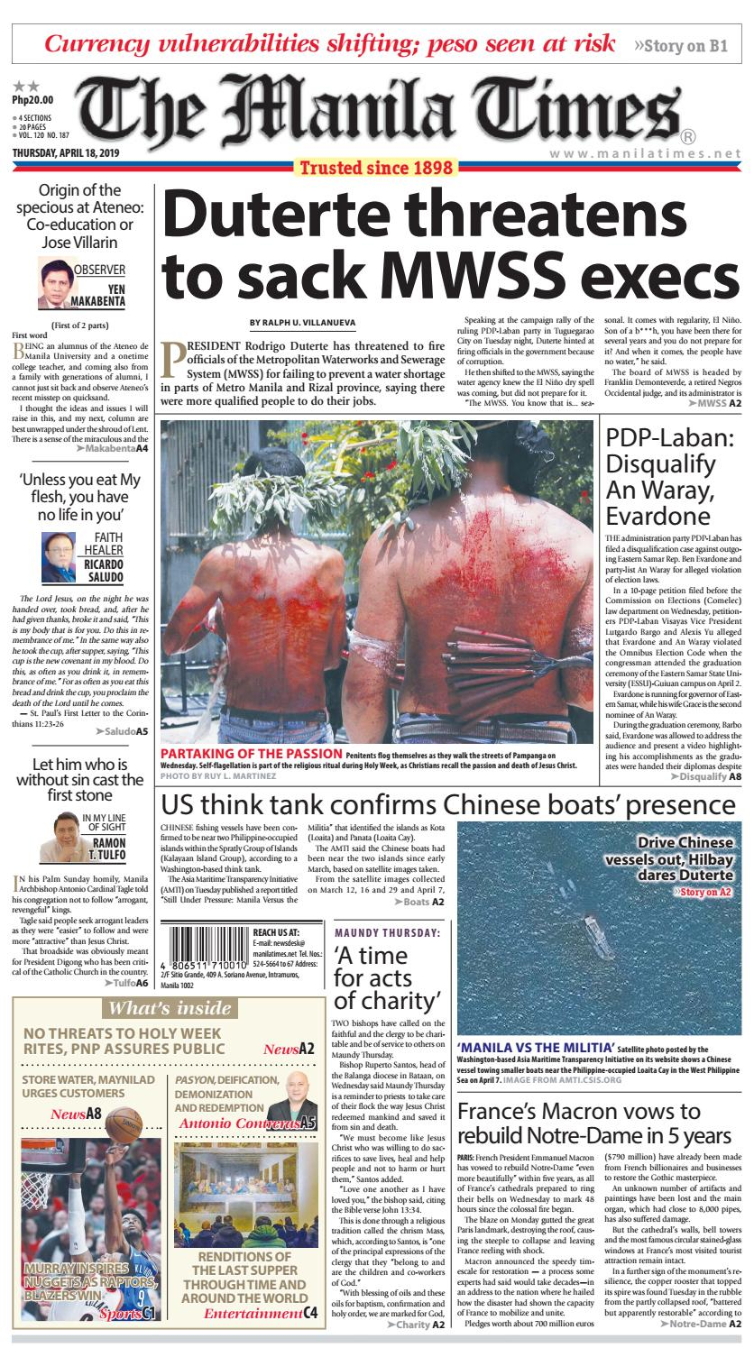 THE MANILA TIMES | APRIL 18, 2019 by The Manila Times - issuu