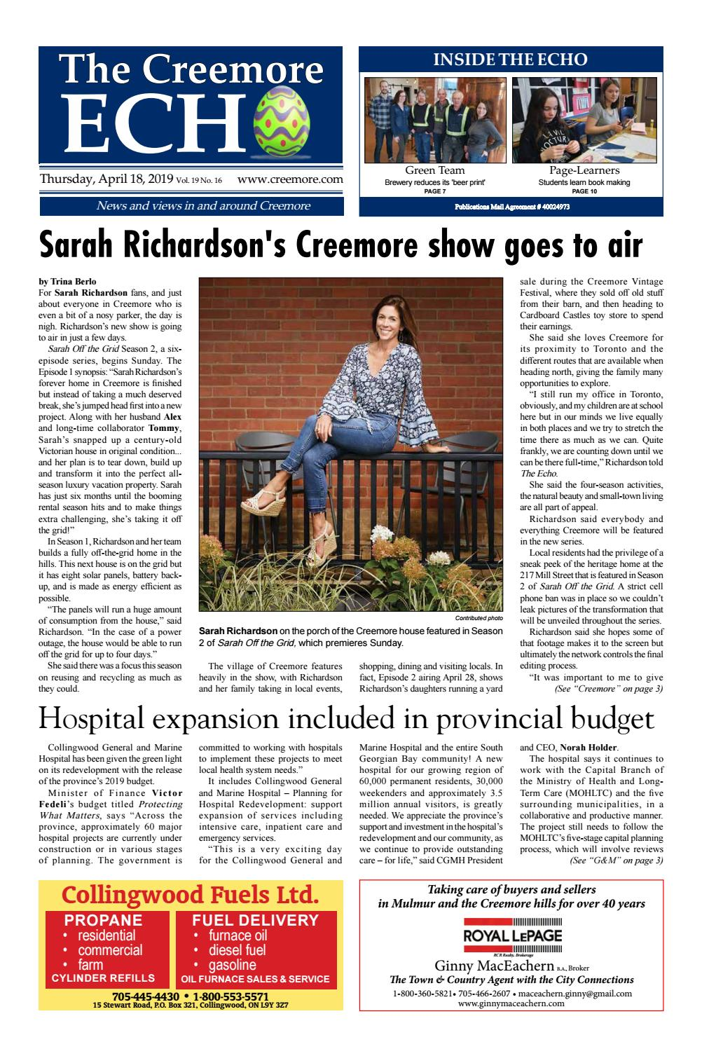 Sarah Richardson Off The Grid april 19, 2019the creemore echo - issuu