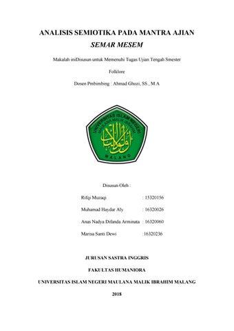 Analisa Semiotika Pada Mantra Ajian Semar Mesem By Muhammad