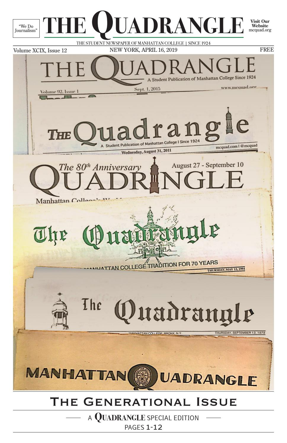 Issue 12, Spring 2019 - The Quadrangle by Manhattan College
