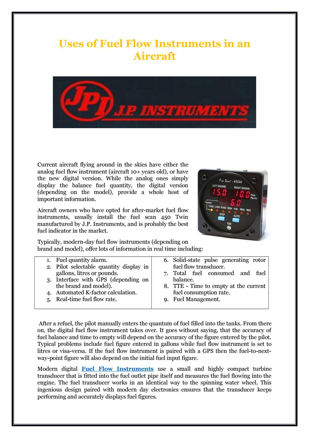 Uses of Fuel Flow Instruments in an Aircraft by J P