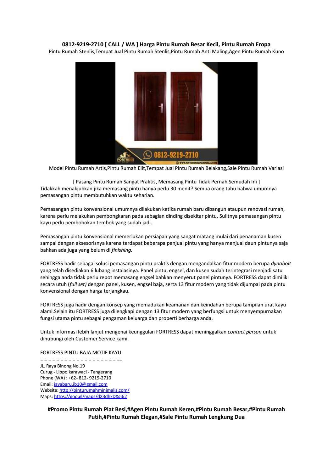 0812-9219-2710 [ CALL / WA ] Distributor Pintu Rumah