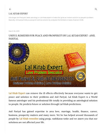 Professional Reader Lal Kitab Expert in India by anilpariyalg - issuu