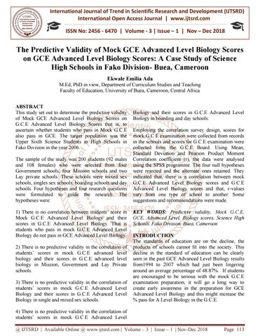 The Predictive Validity Of Mock GCE Advanced Level Biology
