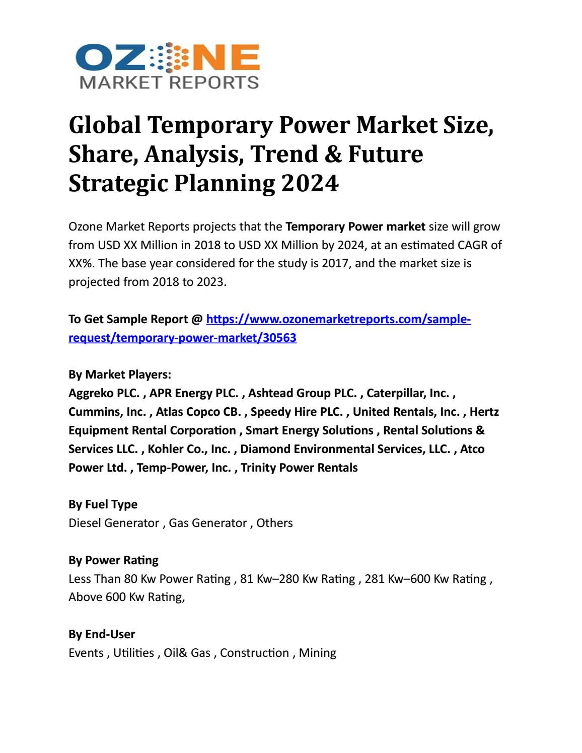 Global Temporary Power Market Size, Share, Analysis, Trend