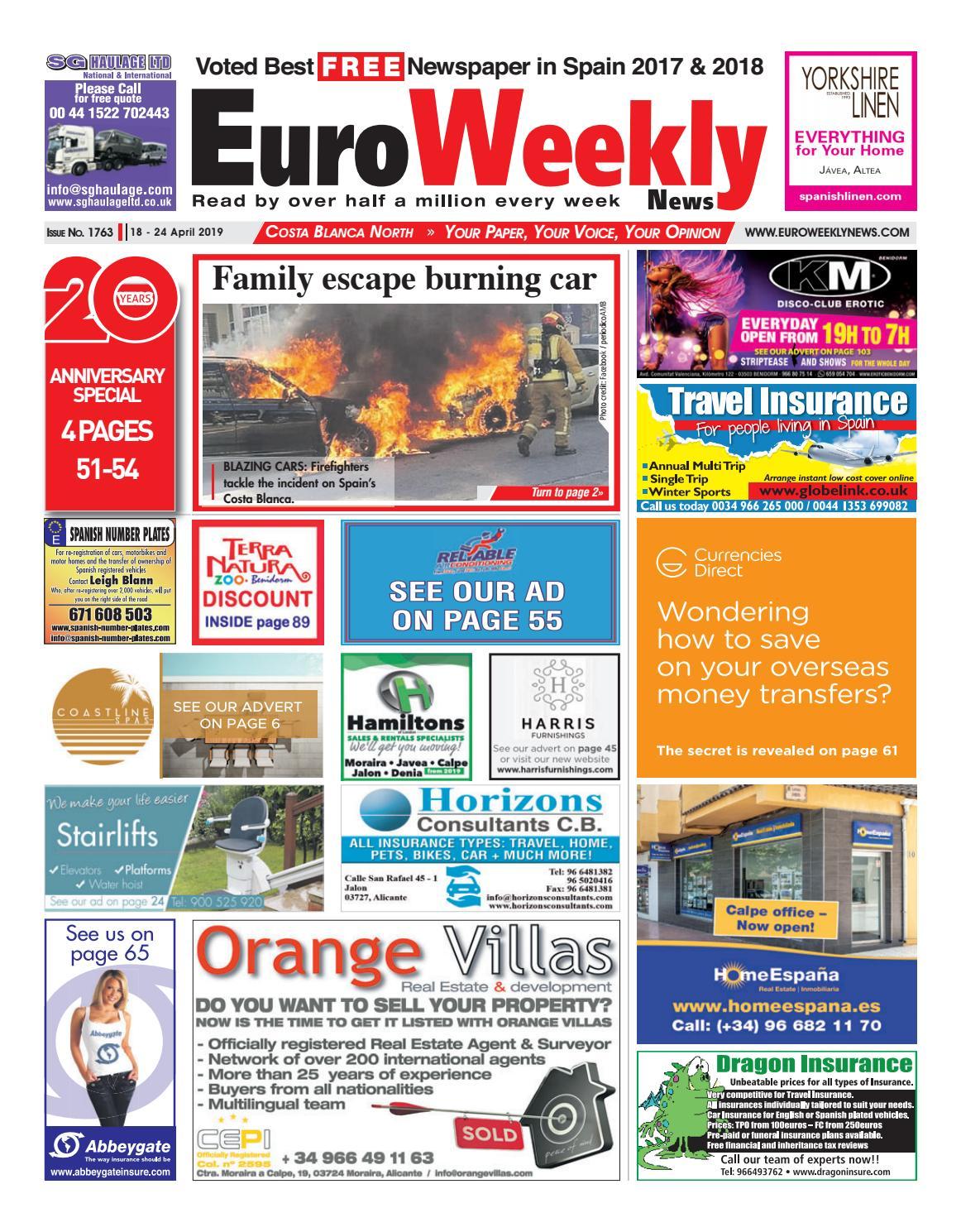 Euro Weekly News - Costa Blanca North 18 - 24 April 2019