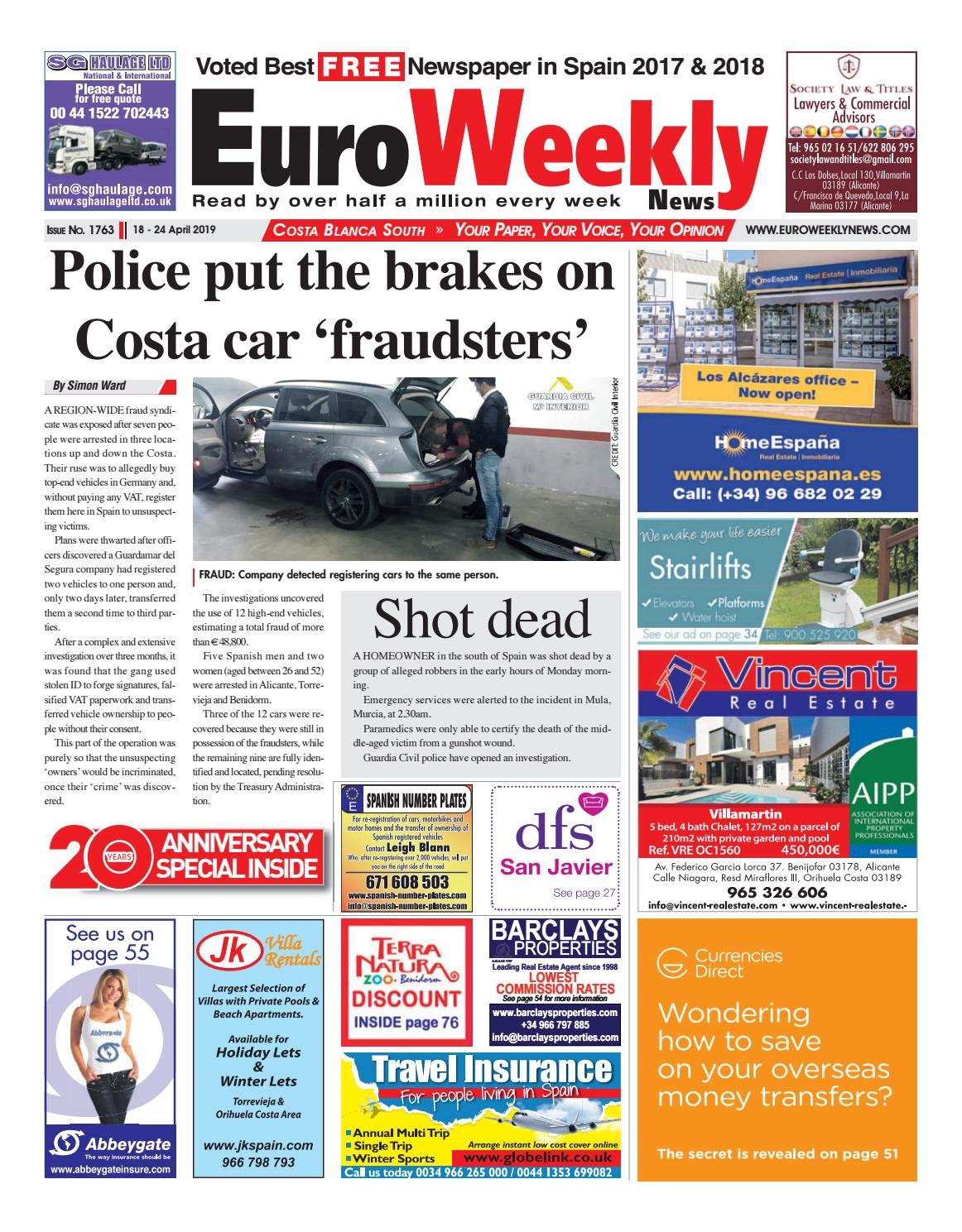 c50342750e721 Euro Weekly News - Costa Blanca South 18 - 24 April 2019 Issue 1763 by Euro  Weekly News Media S.A. - issuu