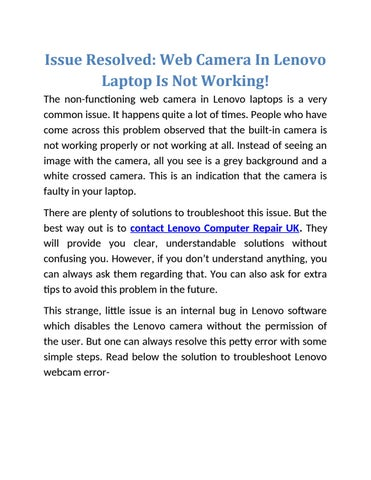 Issue Resolved Web Camera In Lenovo Laptop Is Not Working By Amelia Davis Issuu