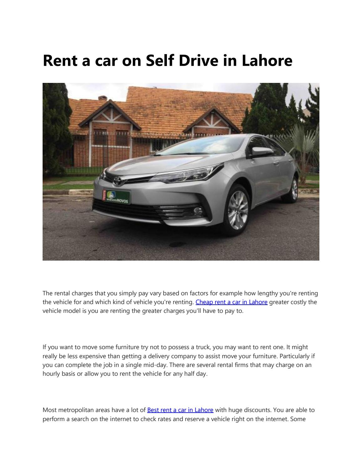Rent a car on Self Drive in Lahore by ShaniTravels - issuu