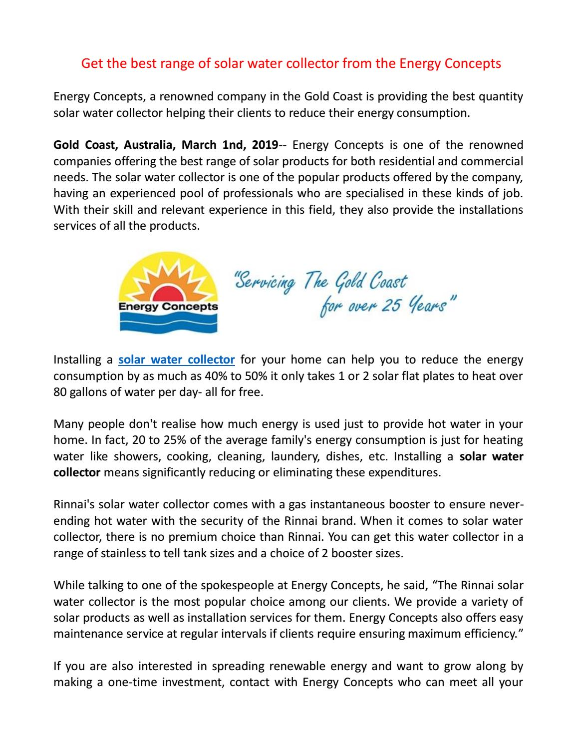 Solar Water Collector by energy concepts - issuu