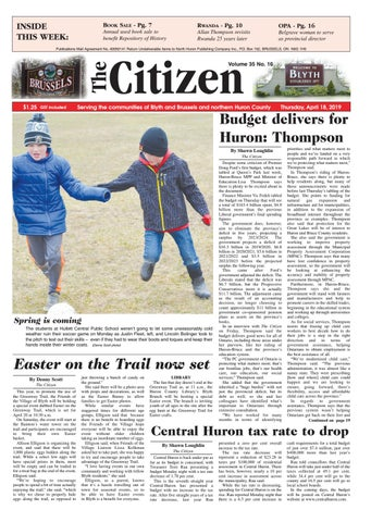 The Citizen - April 18, 2019 by North Huron Publishing Company Ltd