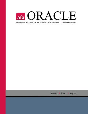 7fe5f7c6948a Oracle: Volume 6, Issue 1, May 2011 by Association of Fraternity ...