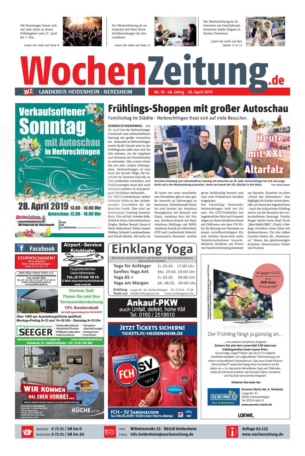 bfdb812640 WochenZeitung Heidenheim KW 16.19 by WochenZeitung / SonntagsZeitung - issuu