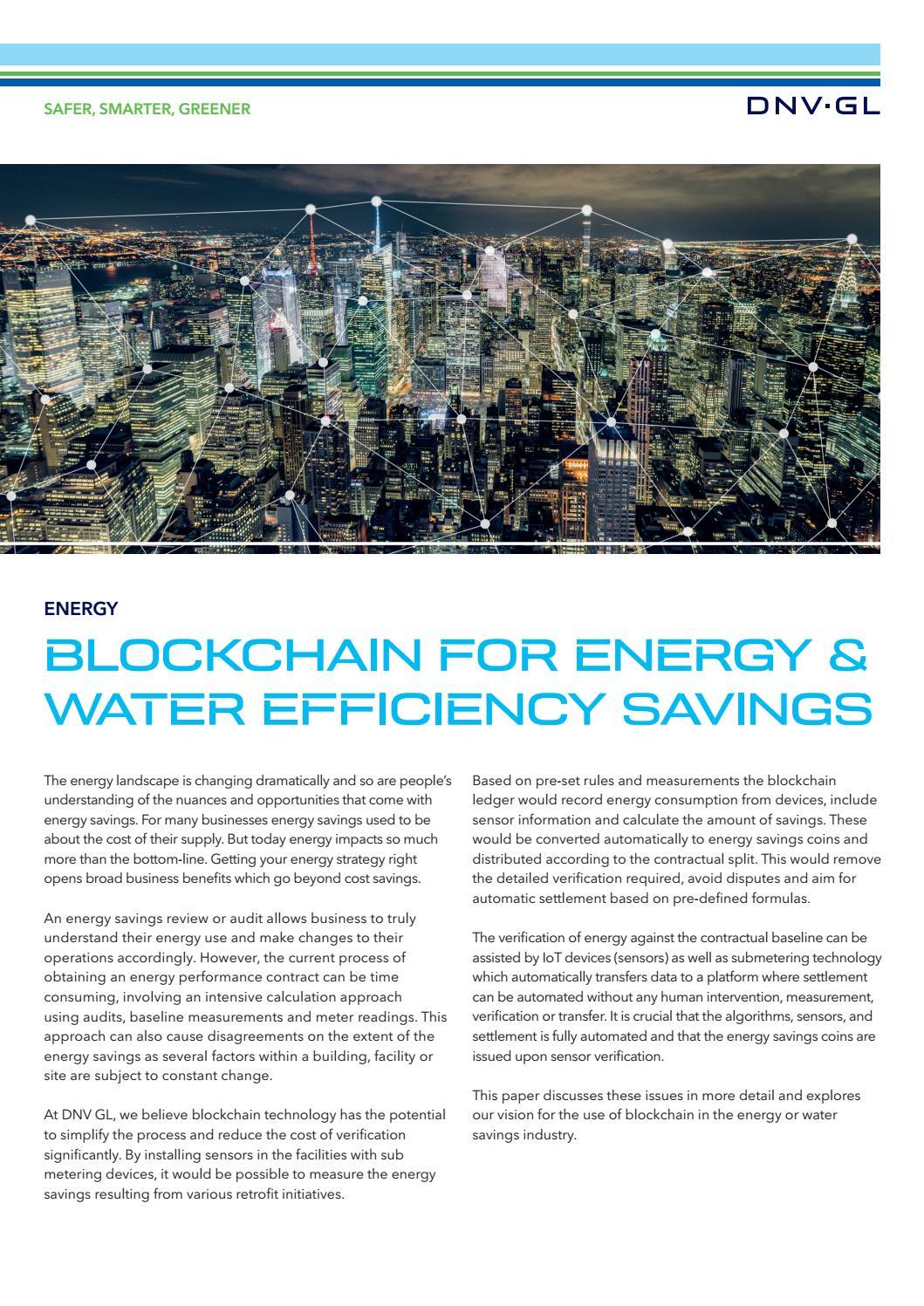 Blockchain for energy & water efficiency savings by DNV GL - issuu