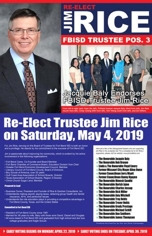 Jim Rice for FBISD Trustee - Position #3 on Saturday, May 4