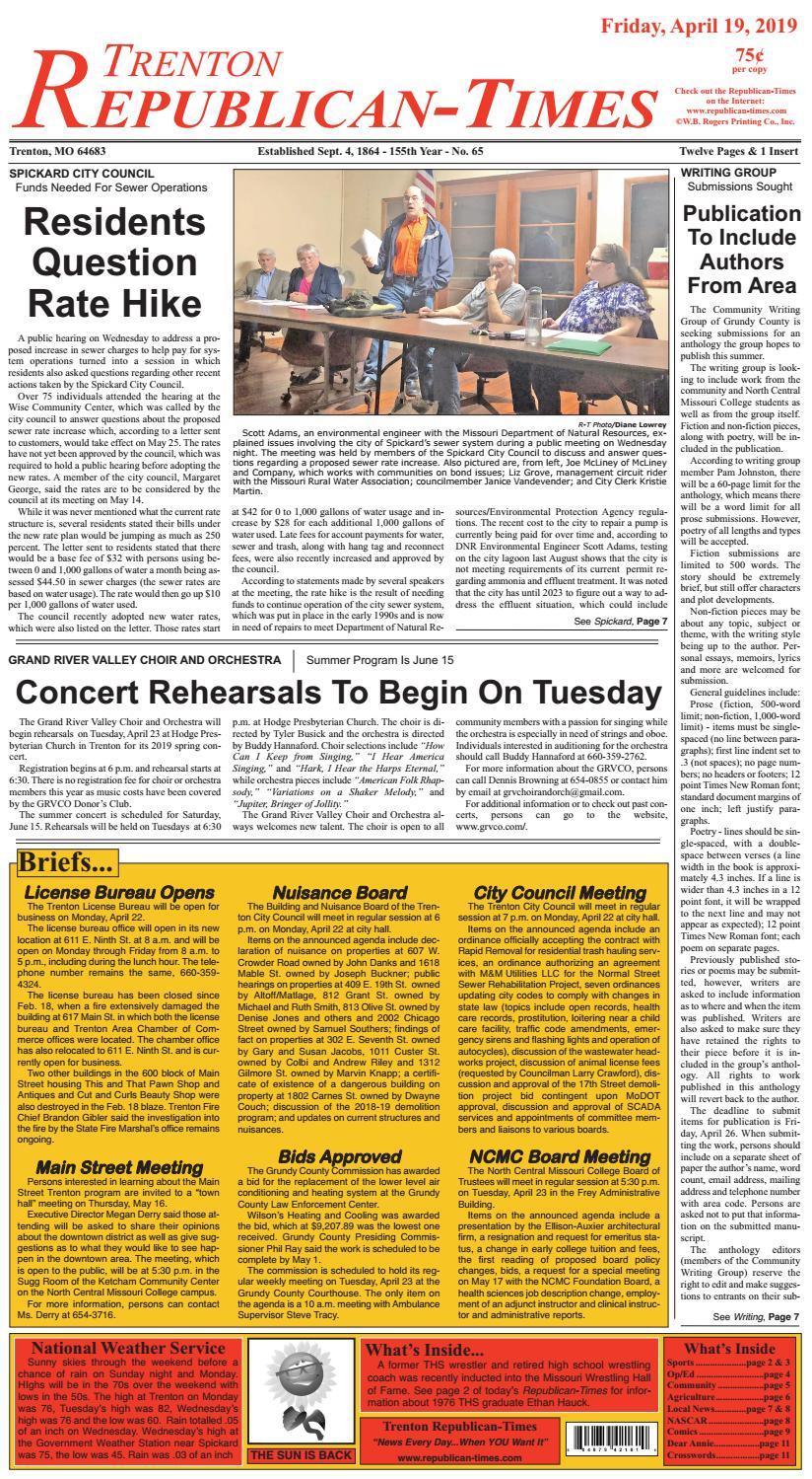 Trenton Republican Times 4-19-19 by Gallatin Publishing
