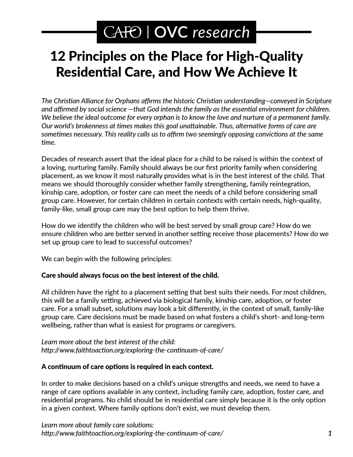 But Theyre Only 12 Why And How To Begin >> 12 Principles On The Place For High Quality Residential Care And