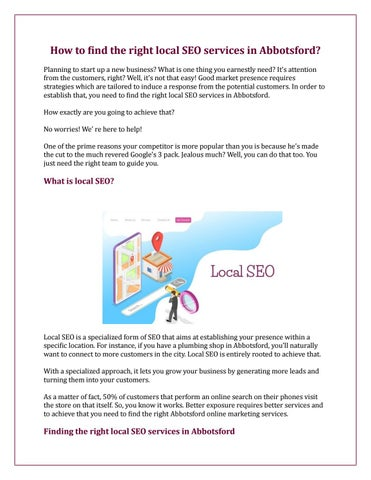 How to find the right local SEO services in Abbotsford? by