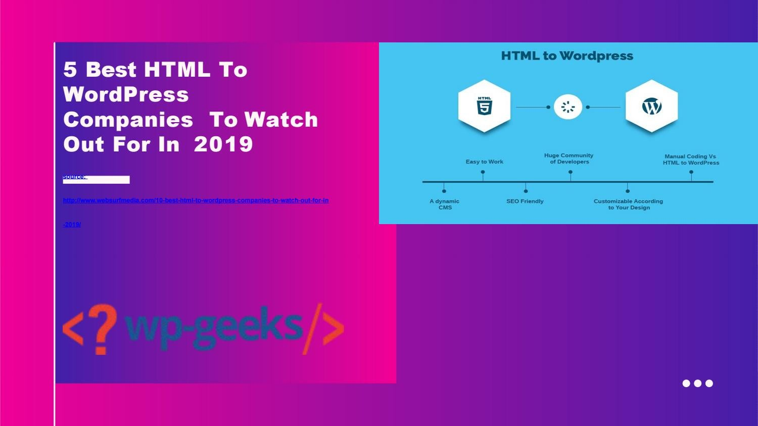5 Best HTML To WordPress Companies To Watch Out For In 2019 by