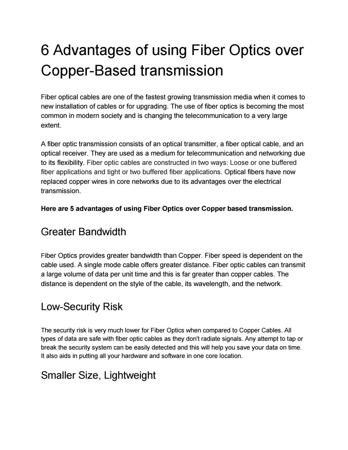 6 Advantages of using Fiber Optics over Copper-Based