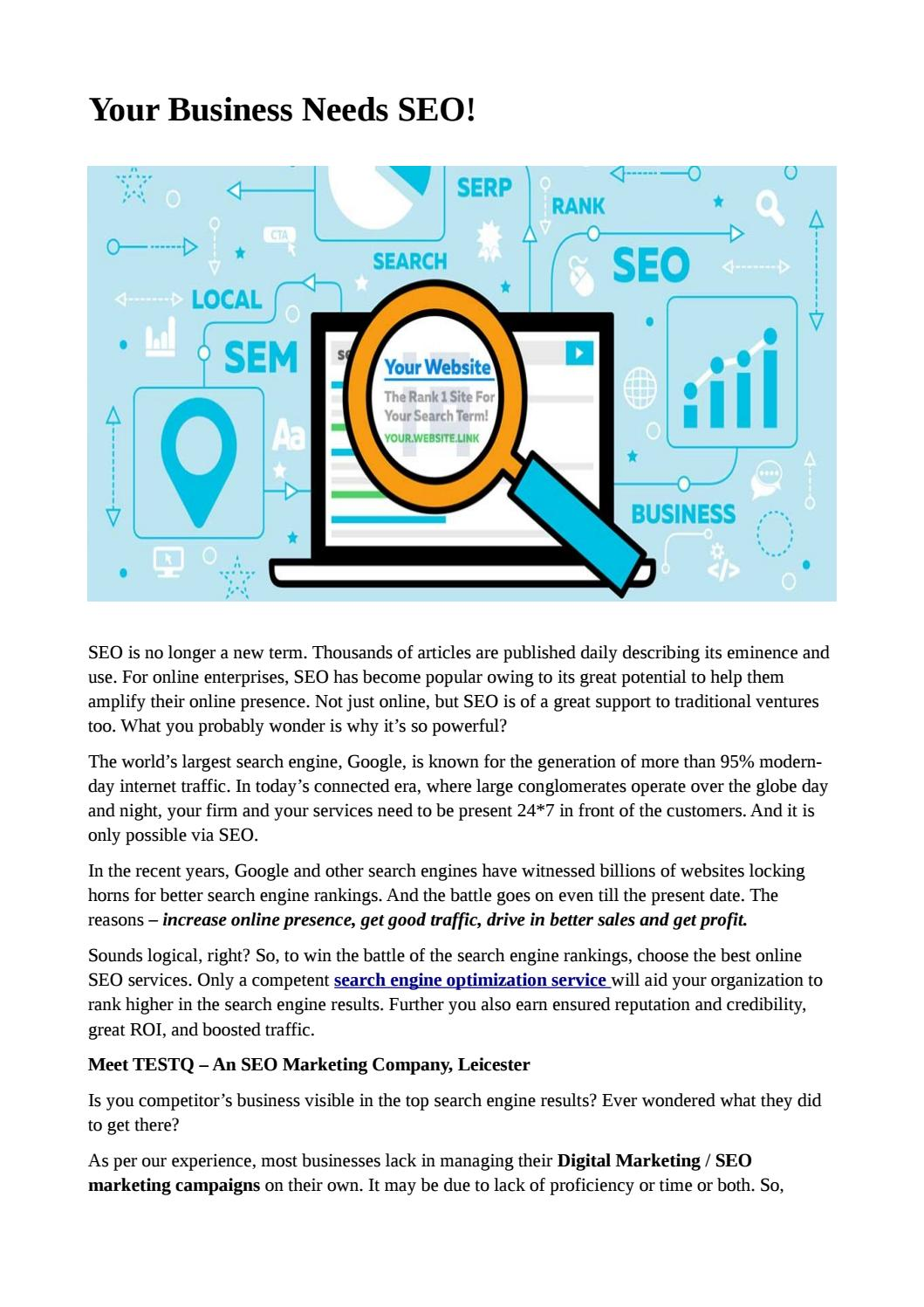 Your Business Needs SEO! by TESTQ Tech - issuu