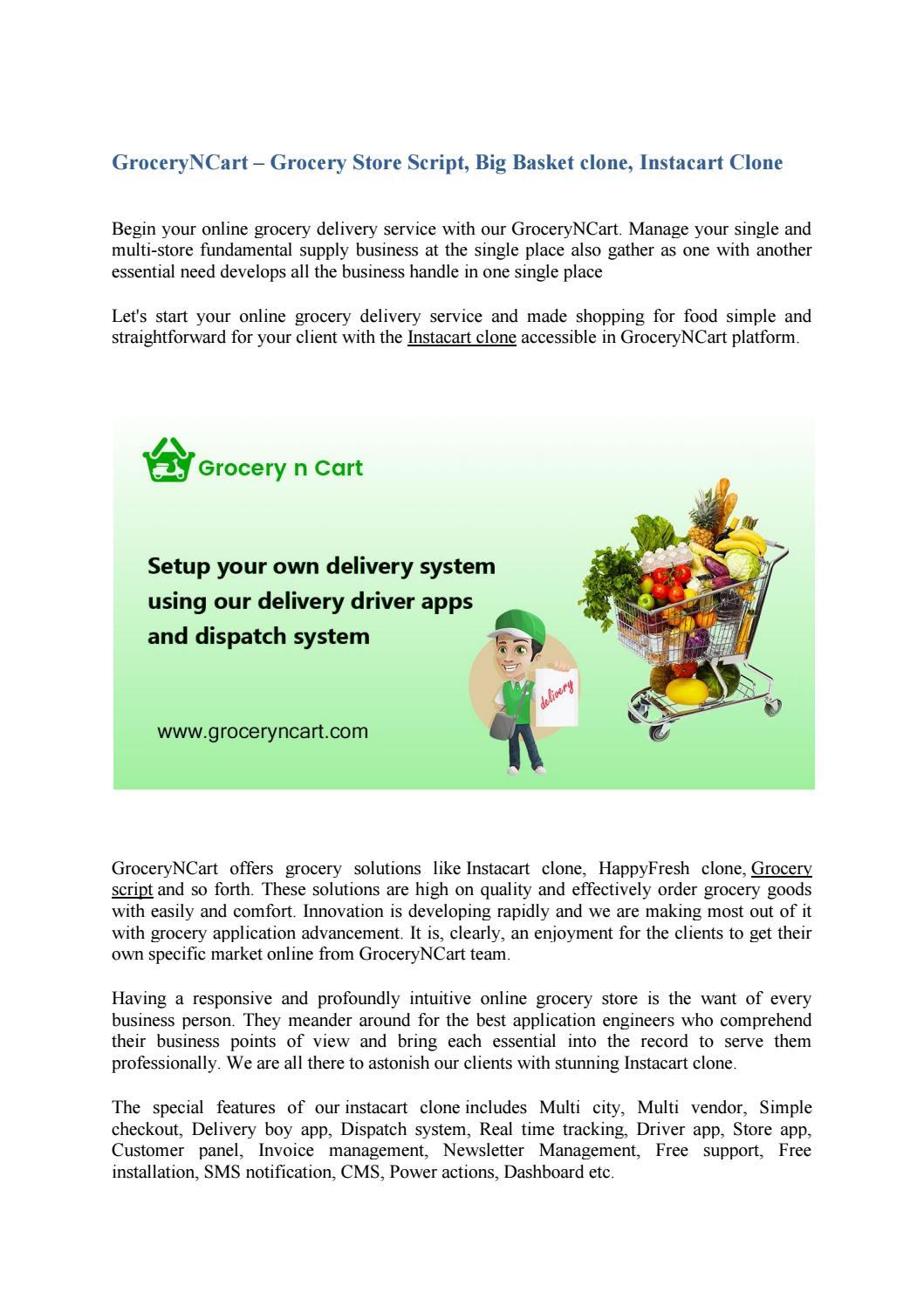Groceryncart - Supermarket Software, Instacart Clone