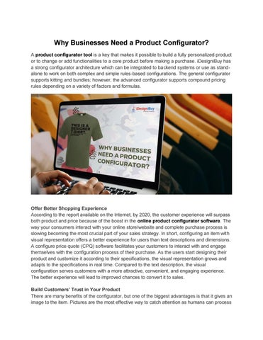 Why Businesses Need a Product Configurator? by iDesigniBuy