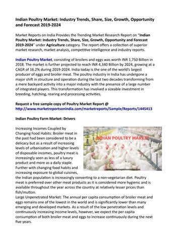 Indian Poultry Market | Growth, Trends and Forecast 2019-2024 by