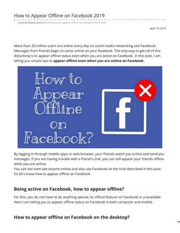 How to Appear Offline on Facebook 2019 by Technical Kanu - issuu