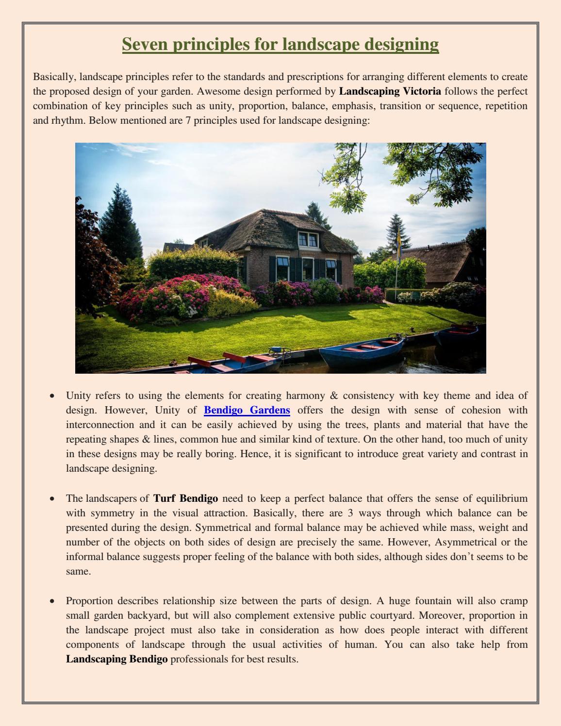 Seven Principles For Landscape Designing By Bendigo Landscaping