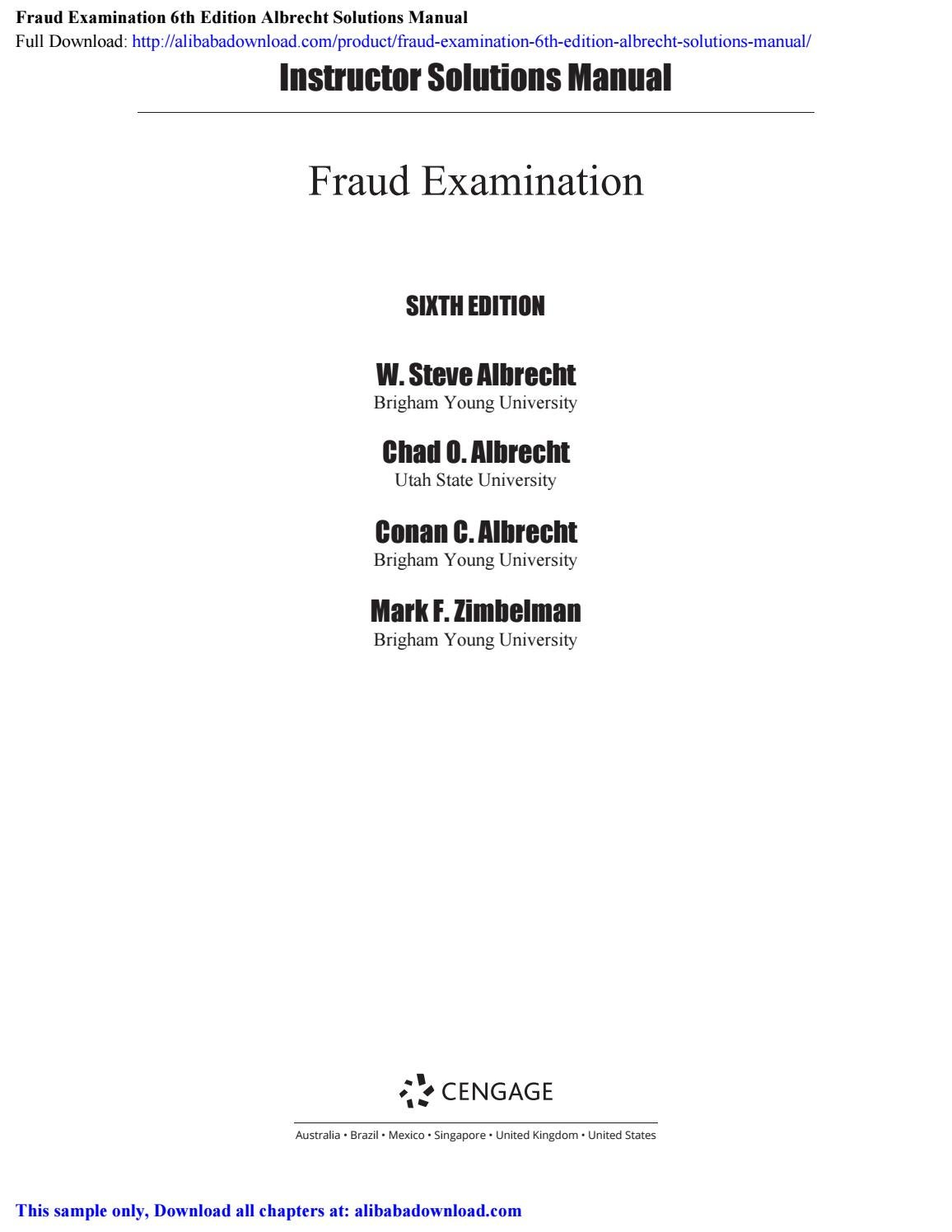Fraud Examination 6th Edition Albrecht Solutions Manual By