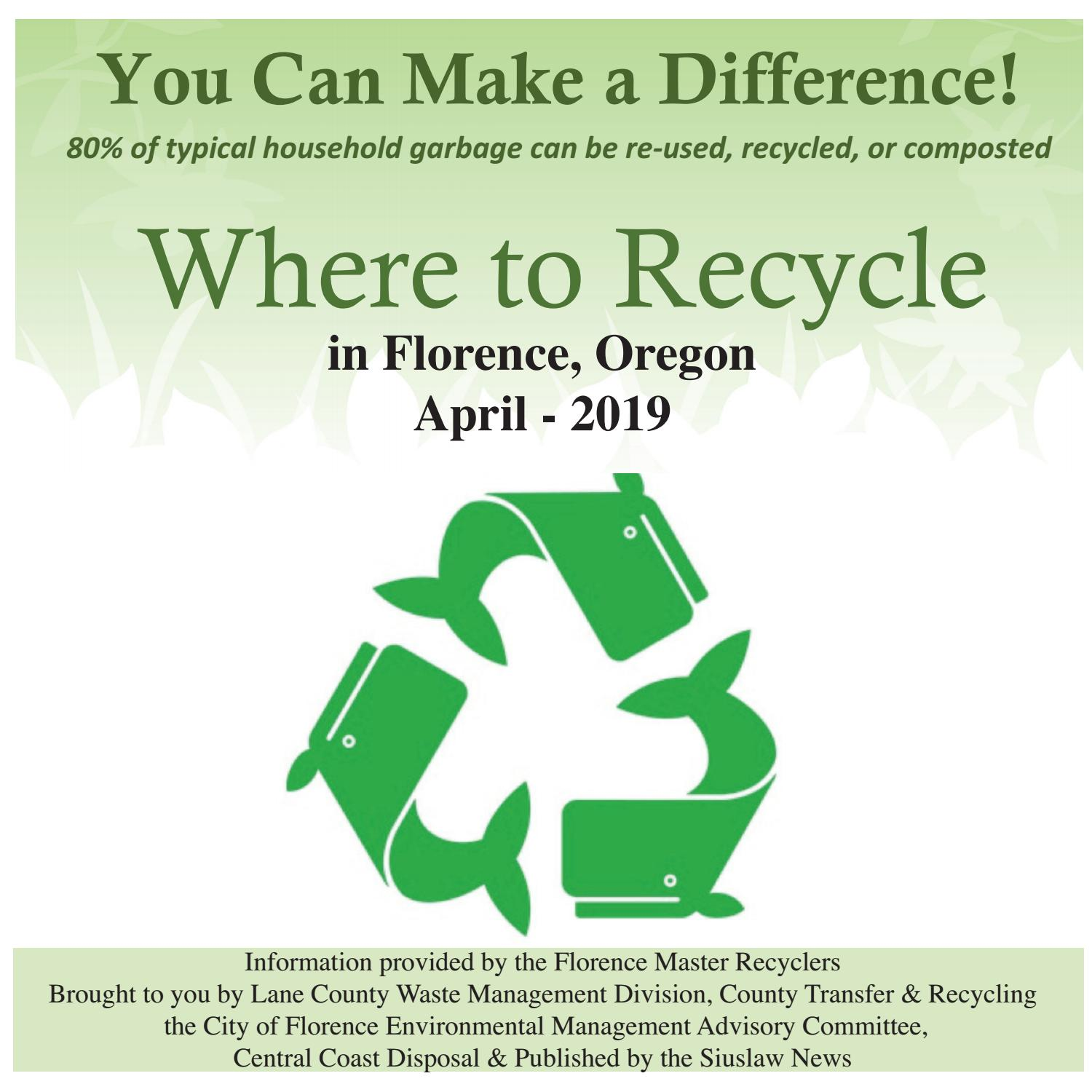 Fred Meyer Florence Oregon >> Recycle Guide April 2019 By Siuslaw News Issuu